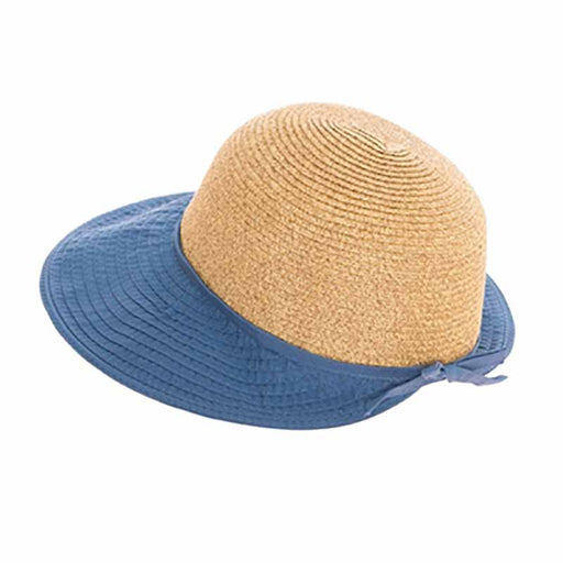 straw facesaver cap women hat ribbon brim sun protection upf50 blue boardwalk style