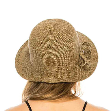straw facesaver hat natural heather women cap sun protection coconut button boardwalk style model back