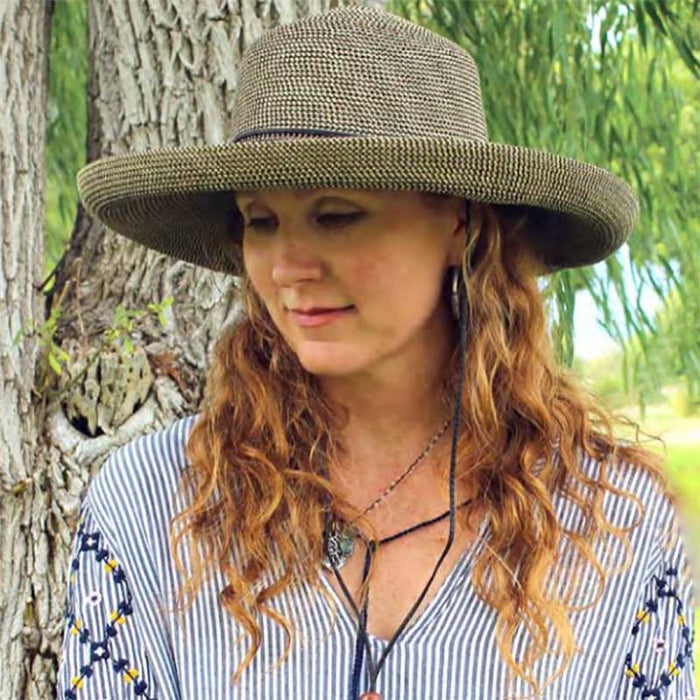 Multitone Tweed Straw Up Brim Hat - Jeanne  Simmons Hats