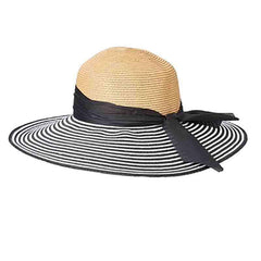Striped Brim Summer Floppy Hat - Black and White