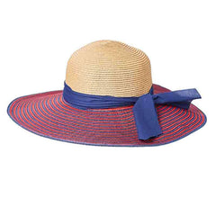 Striped Brim Summer Floppy Hat - Red and Navy