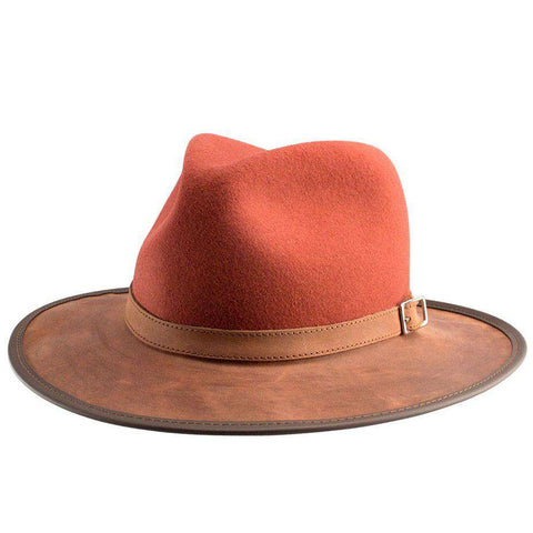 Summit Wool and Leather Outback Hat -Blood Orange