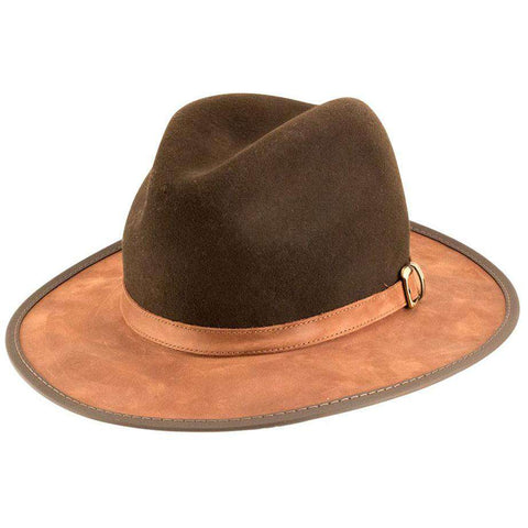 Summit Wool and Leather Outback Hat -Saddle