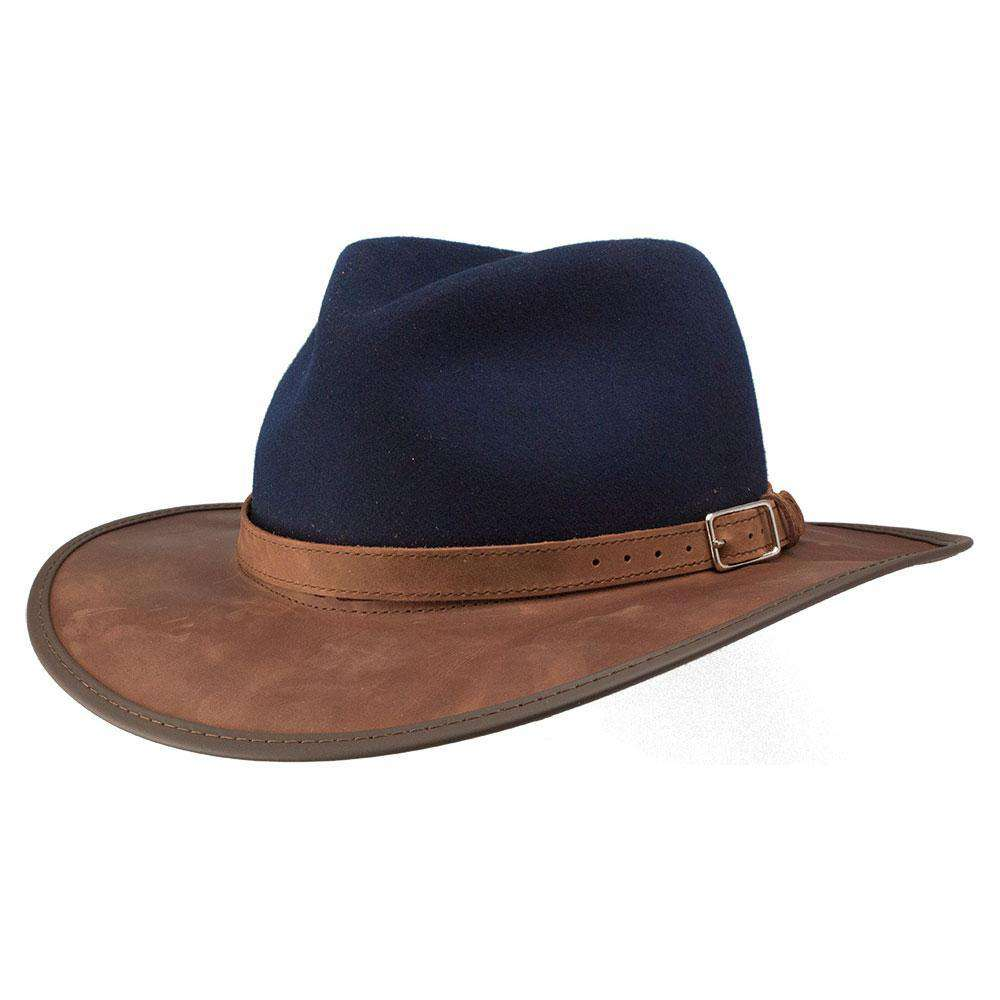 Summit Wool and Leather Outback Hat - Navy