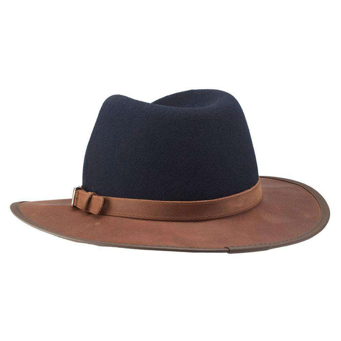 Summit Safari Wool and Leather Hat, Navy - American Outback