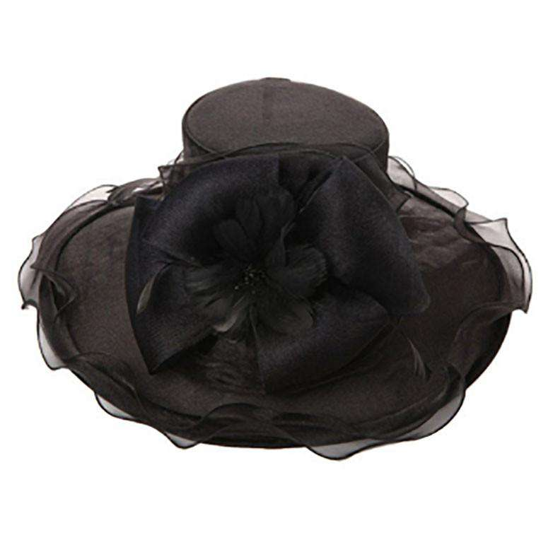 Organza Hat with Feather Flower and Bow - SetarTrading Hats