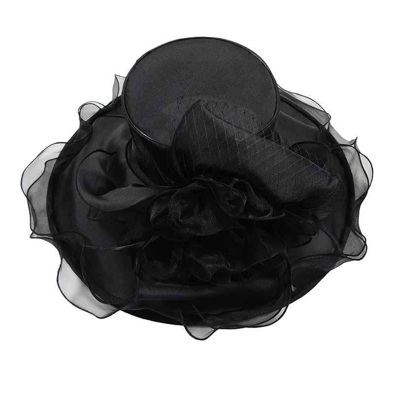 Large Organza Hat with Netting and Feather Accent
