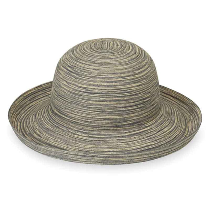 "Packable sun protection hat for women.  New color for 2020: CLOUD GREY.  Up turned brim hat with 4"" wide brim.  Packable. Fold it and roll it.   Shapeable brim, fold it down partially or all around.  The hat is made of matching fibers woven into a thin, breathable polyester braid to provide a light airy comfortable fit.  Inner drawstring to reduce size. Fits up to 58 cm.  UPF 30+ sun protection rating."