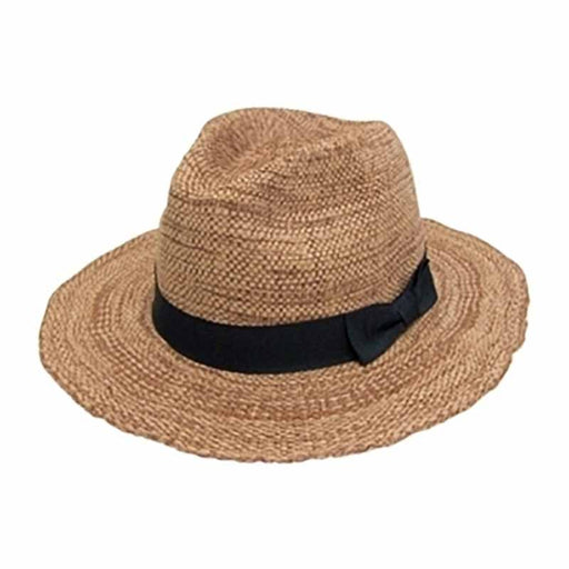 textured toyo panama straw safari fedora hat women beige