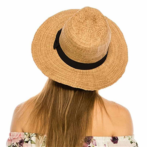 textured toyo panama straw safari fedora hat women tan model back