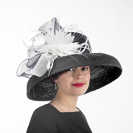 Tiffany Brim Black and White Dress Hat with Feather Flower - KaKyCO