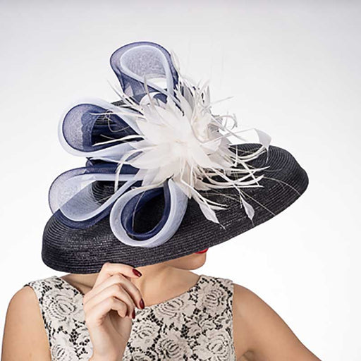 Tiffany Brim Polystraw Dress Hat with Feather Flower - KaKyCO