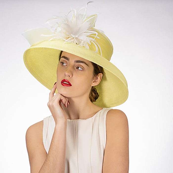 Tiffany Brim Yellow and White Dress Hat with Feather Flower - KaKyCO