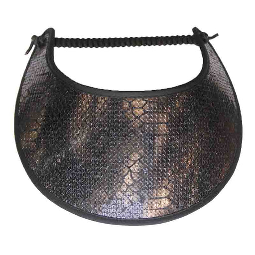 tiny gold and black sequin alligator skin pattern miracle foam sun visor with trimmed edges SetarTrading Hats
