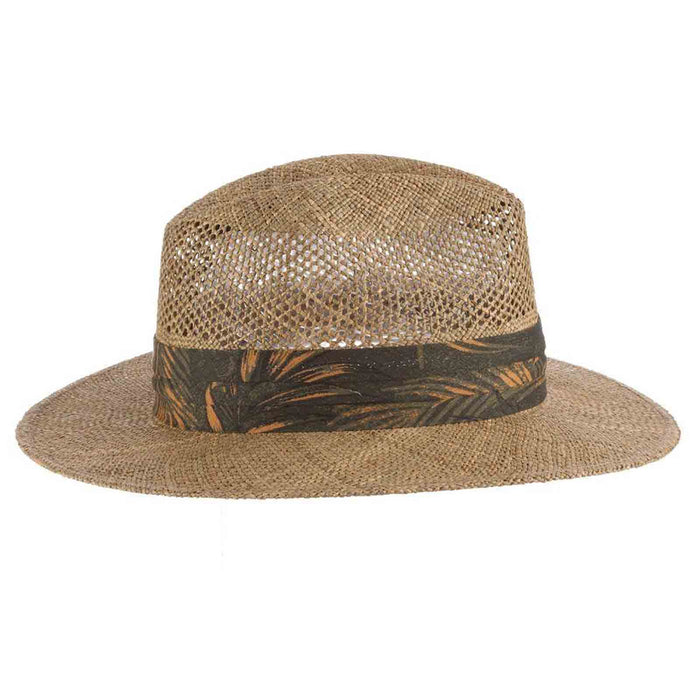tommy bahama los cabos sea grass safari hat with tropical three pleat band side view