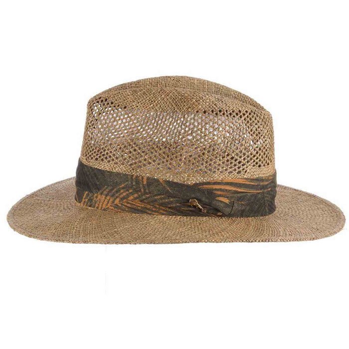 tommy bahama los cabos sea grass safari hat with tropical three pleat band side view tb marlin pin