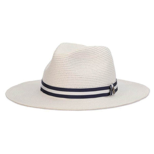 White Panama Style Hat with Striped Band - Tommy Bahama