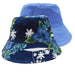 traditional bucket hat reversible floral hawaii palm tree pattern solid blue inside outside