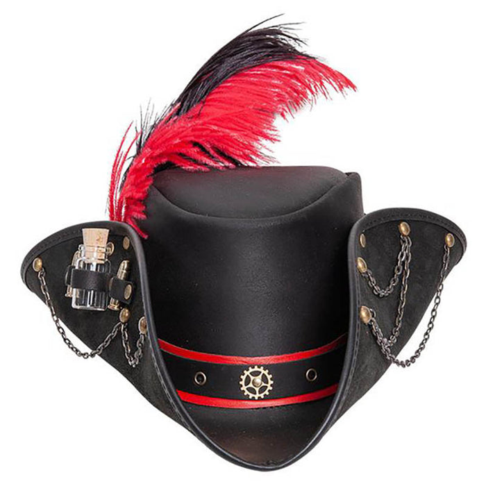Treasure Black Leather Steampunk Pirate Hat - Steampunk Hatter, USA