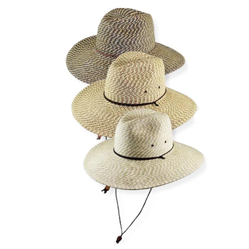 "Straw safari hat with wind resistant chin cord. Multitone tweed braid straw hat.  Fedora-like dented crown with slight front pinch.  Flat brim, 4"" wide.  Braided leatherette chin cord with wooden bead toggle.  Rated for excellent UPF 50+ sun protection. Blocks UVA and UVB rays."