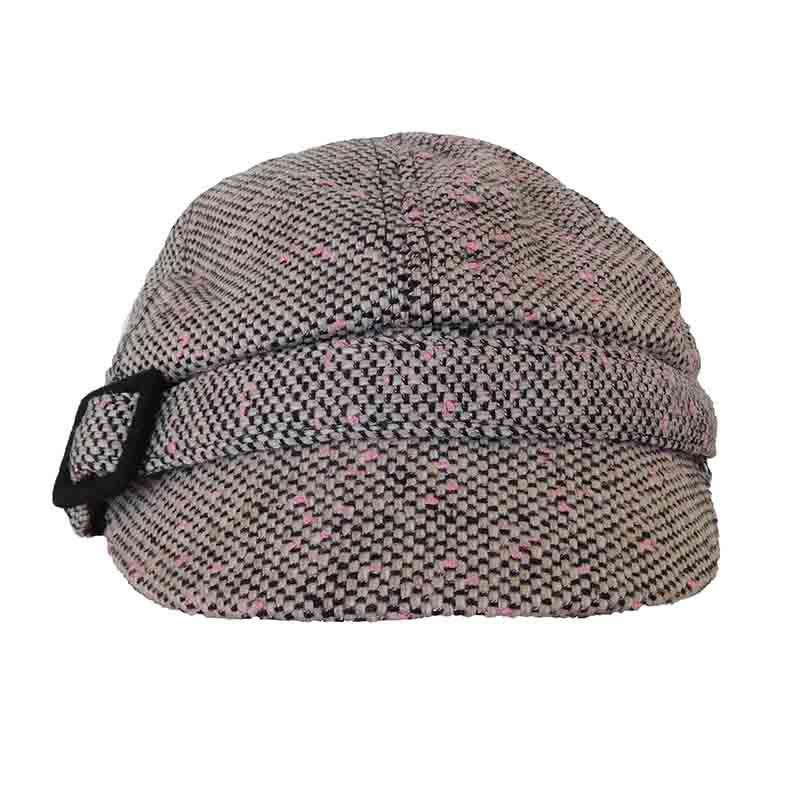 Pink Tweed Cap with Buckle by Jeanne Simmons Hats