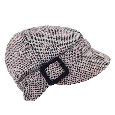 Pink Tweed Cap with Buckle by JSA