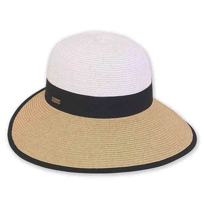 Two Tone Straw Backless Facesaver Hat - Sun'N'Sand