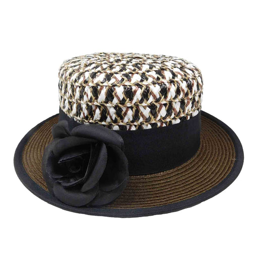 two tone small brim women's boater hat multicolor crown brown brim black ribbon removable flower karen keith