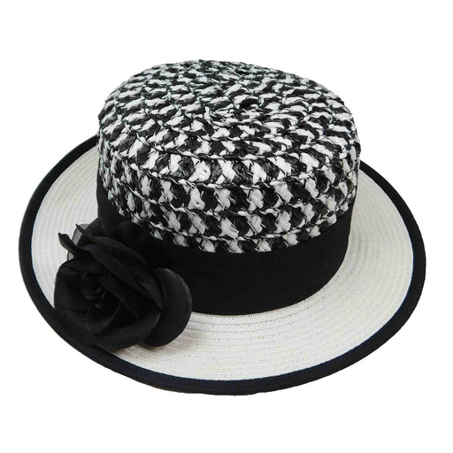 two tone small brim women's boater hat multicolor crown white brim black ribbon karen keith