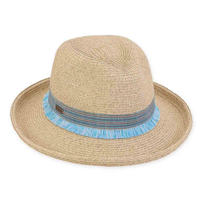 Up Turned Brim Fedora Hat with Tassel Ribbon Band - Sun 'n' Sand®