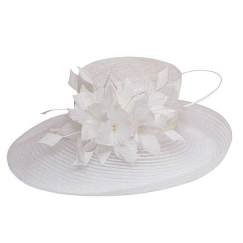 Tulle Mesh Ribbon Brim Church Hat