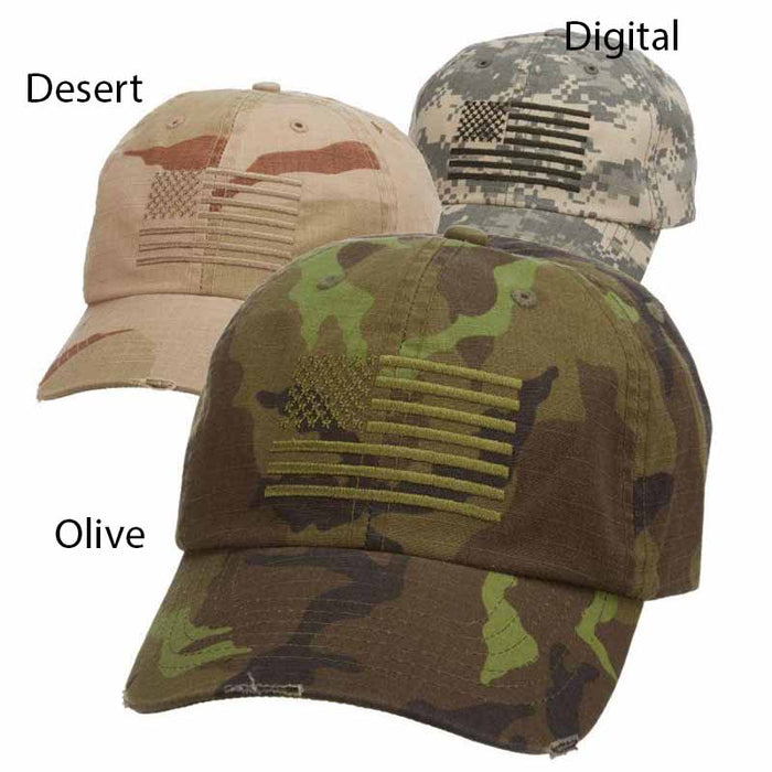 Camo Cap with Embroidered USA Flag - DPC Global