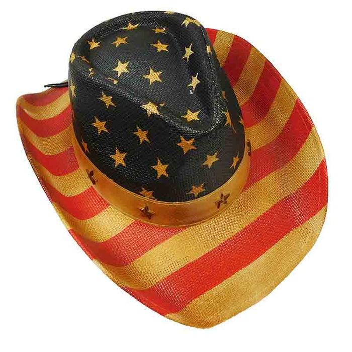 Vintage USA Patriotic Cowboy Hat with Star Studded Band - Milani