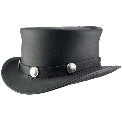 El Dorado Leather Steampunk Top Hat - Black - SetarTrading Hats