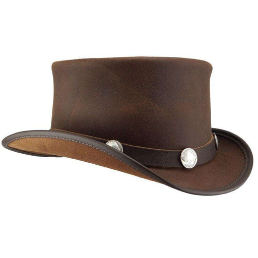 El Dorado Leather Steampunk Top Hat - Brown - SetarTrading Hats