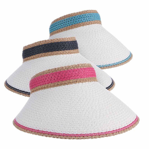 wide brim clip on sun visor white bill fuchsia turquoise navy brand comfortable no headache women sun visor dpc