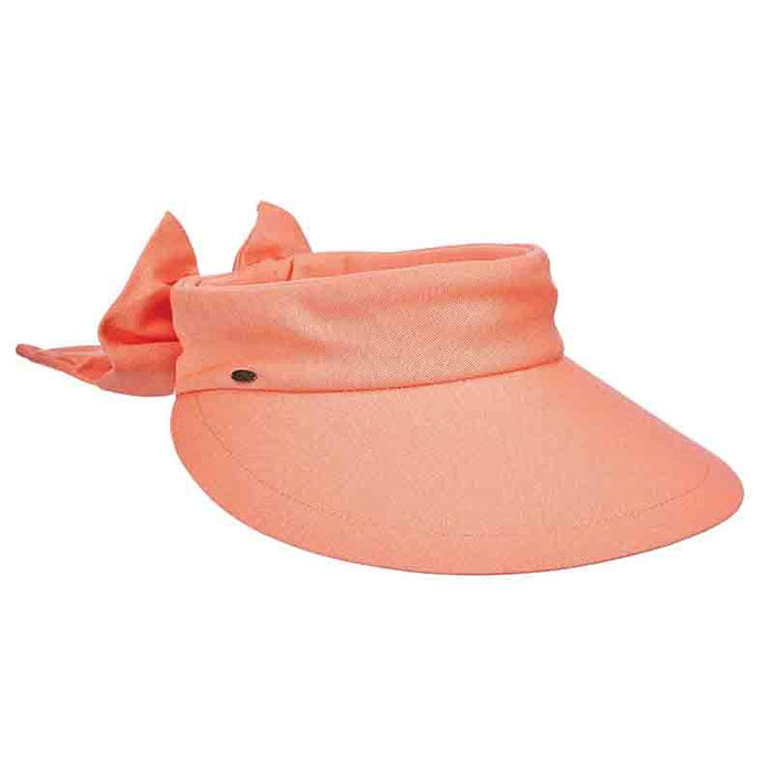 Large Round Linen Sun Visor with Bow - Scala Hats