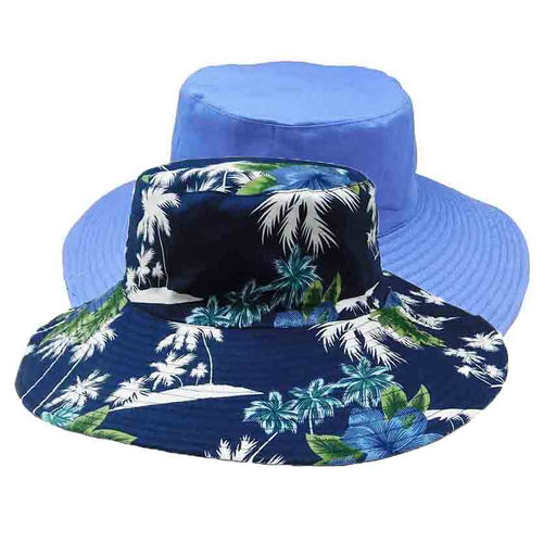wide brim reversible cotton bucket hat women's hats karen keith blue green floral print on black solid bluecolor inside outside