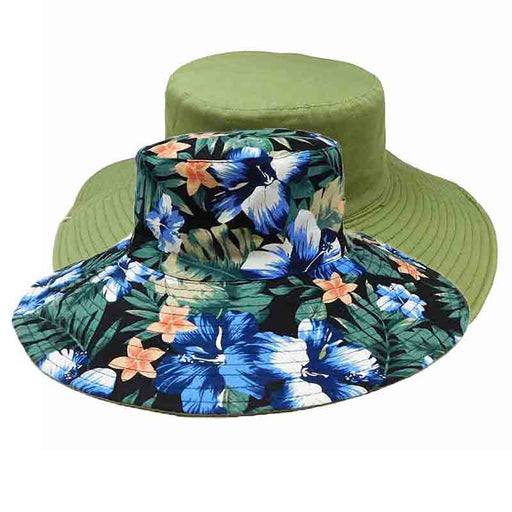 wide brim reversible cotton bucket hat women's hats karen keith floral print solid color inside olive outside