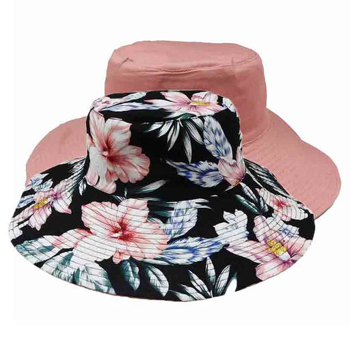 wide brim reversible cotton bucket hat women's hats karen keith rose floral solid color inside outside