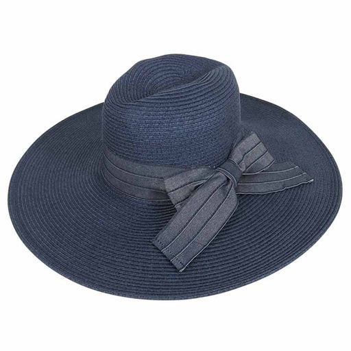 Large Brim Safari Hat with Denim Bow - Boardwalk Style