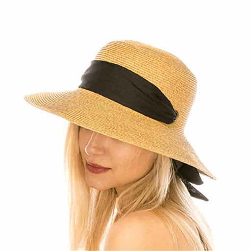 wide brim sun hat with black chiffon scarf chin tie women UPF50 boardwalk style long bow model