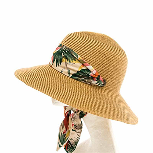 wide brim sun hat with floral chiffon scarf chin tie women UPF50 boardwalk style tied under chin for convertible car windy weather