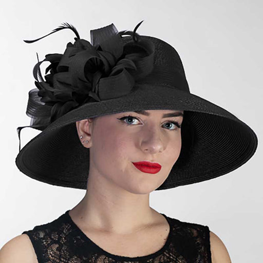 Black Feather Flower Down Brim Church Hat - KaKyCO