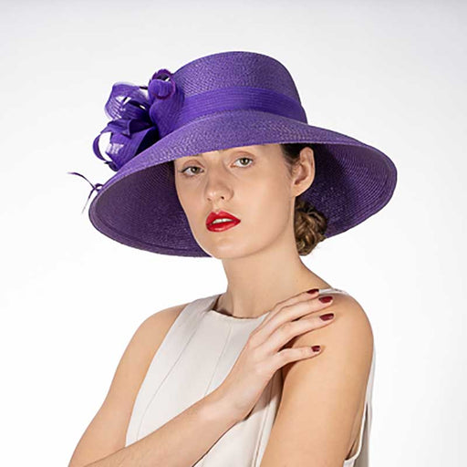 Purple Feather Flower Down Brim Church Hat - KaKyCO