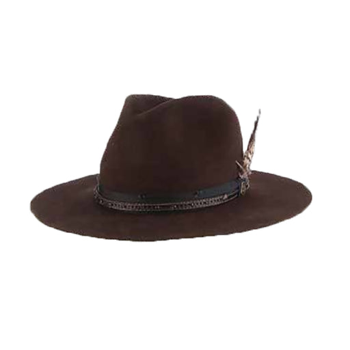 Folk Distressed Look Wool Felt Western Hat - Biltmore Hats
