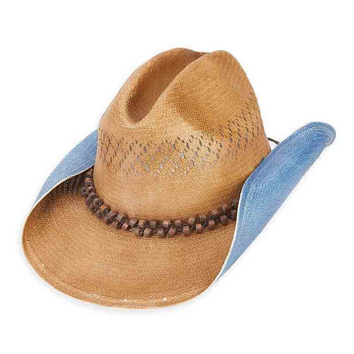 Woven Toyo Cowboy Hat with Bead Tie - Sun'N'Sand