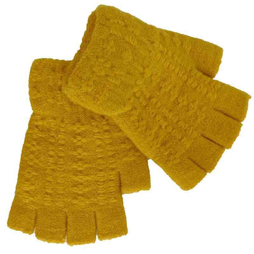 Yellow Boucle Knit Mitts by JSA