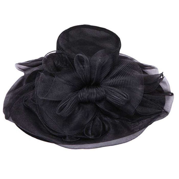 Large Organza Hat with Mesh Bow Knot - SetarTrading Hats
