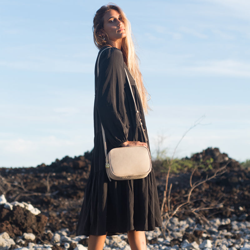 Cruz crossbody in latte with model